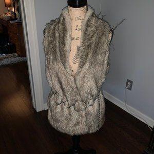 Charming Charlie - Tan Faux Fur Vest - Medium